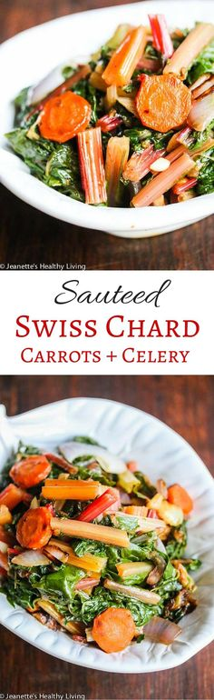 Sauteed Swiss Chard with Carrots and Celery - a simple and delicious way to prepare Swiss chard ~ http://jeanetteshealthyliving.com