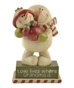Look at this #zulilyfind! 'Love Lives Where Grandma Is' Snowman Figurine #zulilyfinds