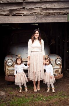 women lace skirt, knee length, high waist, elegant skirt, Mommy&Me Skirt