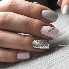 Beauty Nails – Nail Art Design Nagellack # Nagellack # Nageldesign - Make-up Geheimnisse Beauty Nails - Nail Art Design Esmaltes # Esmaltes # Nail Design de unha Fancy Nails, Trendy Nails, Cute Nails, Classy Nails, Shellac Nail Designs, Nails Design, Pedicure Designs, Grey Nails With Design, Nails With Stripes