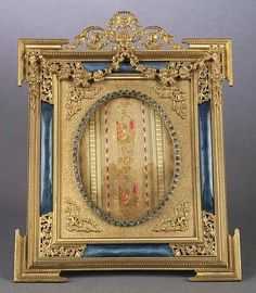 """A Belle Epoque Ormolu, Bleu Enamel and """"Paste"""" Jeweled Picture Frame , height 10 1/4 in., width 8 1/8 in"""