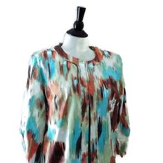 Artsy Watercolor Jacket L Watercolors Cropped Jacket Tag Size: Womens Large / L  Multicolor Blue Brown 3/4 Length Sleeves - Ruched Open Front Mandarin Collar Lined 60% Polyester 37% Cotton  3% Spandex 100% Polyester Lining Made in USA EUC Trades Lavender & Honey Tops