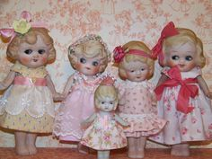 5 little Made In Japan Dolls that I made dresses for. A gaggle of googlies! So sweet! Marcie Hart - A Work Of Hart
