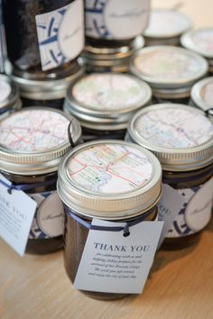 jam favors. Precious cargo sweet table.  http://sweettable.ca/travel-themed-baby-shower/