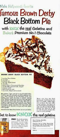 Derby Black Bottom Pie made with Knox Gelatin & Baker's Chocolate ...