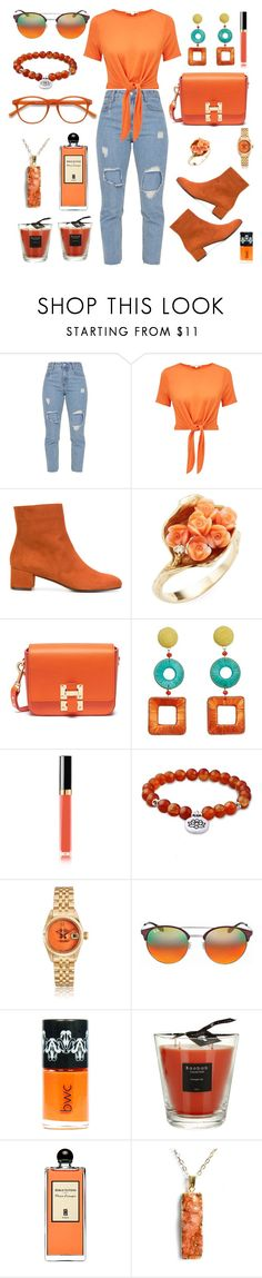 """""""Senza titolo #7591"""" by waikiki24 ❤ liked on Polyvore featuring Miss Selfridge, L'Autre Chose, Sophie Hulme, MANGO, Chanel, Ray-Ban, Baobab Collection, Serge Lutens, EyeBuyDirect.com and orangeoutfit"""