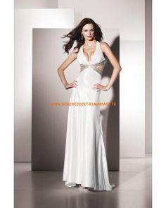 Belle robe sexy col en V blanche décorée de cristaux robe de soirée 2013 satin stretch