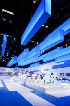 Interesting exhibition stand design using striking lighting