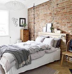 Bedroom Designs For The Home Brick Bedroom Apartment Bedroom throughout size 1898 X 1423 Brick Wall Bedroom Design - As us become more and more frenetic, Exposed Brick Bedroom, Brick Wall Bedroom, Brick Accent Walls, White Brick Walls, Accent Wall Bedroom, Exposed Brick Apartment, Brick Wall Decor, Feature Wall Bedroom, Bed Wall