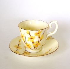 Crown Staffordshire Hand Painted Fine Bone China Teacup and Saucer - Yellow Floral - England by HouseofLucien, $24.00