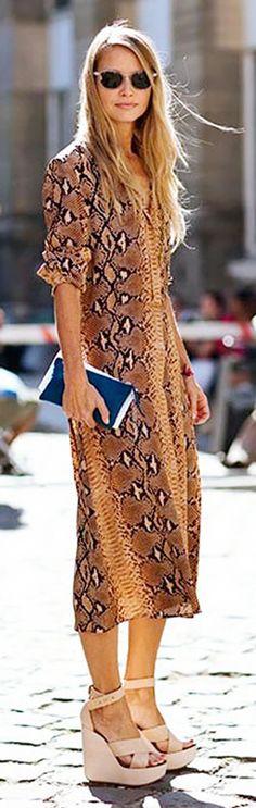 Midi dress worn with sleek and simple wedges