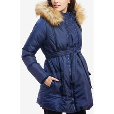 Motherhood Maternity Three-In-One Belted Quilted Puffer Coat ($140) ❤ liked on Polyvore featuring outerwear, coats, navy, puffy coat, belted coat, blue quilted coat, puffer coat and navy blue puffer coat