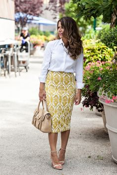 Yellow Pencil Skirt ann taylor button down shirt ann taylor perfect shirt rebecca minkoff mini jules satchel zara nude heels new york fashion blogger what to wear to work work outfit corporate blogger midi skirt to wear to work