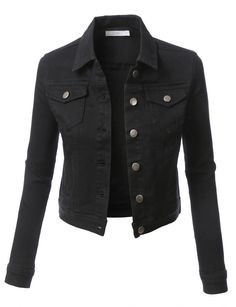 LE3NO Womens Classic Long Sleeve Cropped Denim Jacket