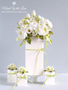 White Bouquet Cake - Cake by Pamela McCaffrey