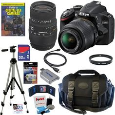 Nikon D3200 24.2 MP CMOS Digital SLR Camera with 18-55mm f/3.5-5.6G AF-S DX VR Lens and Sigma 70-300mm f/4-5.6 SLD DG Macro Lens with built in motor   32GB Deluxe Accessory Kit $889.00