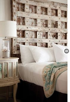 Old door headboard. I could make with a sheet of wood, 2x4s and bolts and distress it!!!