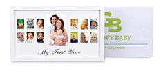 My First Year Baby Picture Frame  Solid Wood Photo Frame  Fits One 4X6 and Twelve 2X15 photos *** This is an Amazon Affiliate link. Details can be found by clicking on the image.