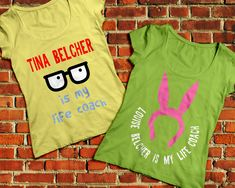 """Bob's Burgers Tina and Louise Belcher Set SVG File Cutting Templates INSTANT DOWNLOAD for DIY projects, from Designed by Geeks. Use vinyl & other materials for Silhouette projects, Cricut projects, ScanNCut projects. No desktop plotter or cutting machine? Use a printer & photo transfer paper! Instructions included.  Inspired by Bob's Burgers. The first says """"Tina Belcher is my life coach"""" with Tina's iconic glasses. The other says """"Louise Belcher is my life coach"""" with her pink bunny hat."""