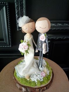 Wedding Cake Topper with Custom Wedding Dress por MilkTeabyBthanari
