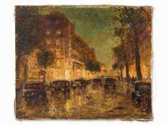 Otto Pippel (1878-1960), Berlin at Night, Oil, c. 1920