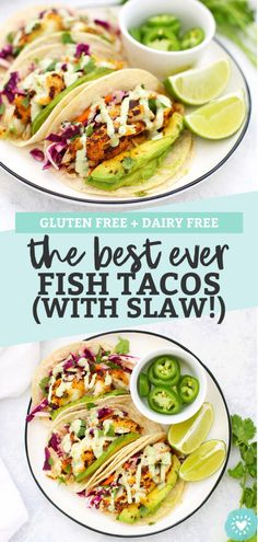 Gluten Free Fish Tacos with Honey Lime Cilantro Slaw - The BEST fish taco recipe Perfectly cooked fish with an easy cabbage slaw that makes these taste amazing cincodemayo glutenfree fishtacos tacos # Seafood Recipes, Mexican Food Recipes, Vegetarian Recipes, Cooking Recipes, Healthy Recipes, Healthy Food, Fish Recipes Gluten Free, Salmon Recipes, Gluten Free Dinners