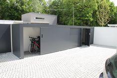 Exterior Design, Home Interior Design, Bicycle Storage, Bike Shed, Landscape Architecture Design, Budget Patio, Outdoor Storage, Outdoor Gardens, Outdoor Living