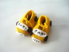 Yellow taxi cars Baby Booties kids slippers by AnatoliaDreams, $20.00