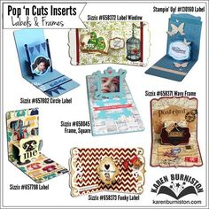A visual of all the generic Label & Frame Pop 'n Cuts inserts available from Sizzix and Stampin' Up!