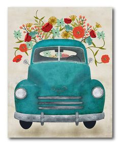 Courtside Market Aqua Pickup Wrapped Canvas | zulily