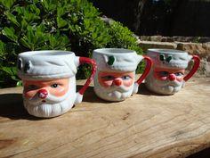 Set of Three Vintage Shabby Chic Santa Cups by AskMeDecor on Etsy, $12.00