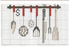 amo cucinare 2 - love cooking Cross Stitching, Cross Stitch Embroidery, Cross Stitch Patterns, Cross Stitch Kitchen, Cross Stitch Collection, Tea Towels, Tea Party, Handmade, Polyvore