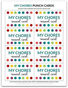PDF: My Chores Punch Card   Reward Card for Kids