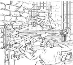 Paul And Silas In Prison Coloring Page This Will Help You Prepare Your Sunday School Lesson On Acts The Bible Story Of