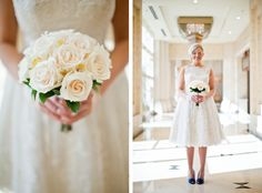 Classic Tea Length wedding dress by Priscilla of Boston, birdcage veil by Pomp and Plumage