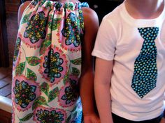 Pillowcase dress & matching brother TShirt  Amy by alisplace1, $33.00