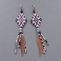 Long  Native American Style Seed Bead Earrings by Anabel27shop