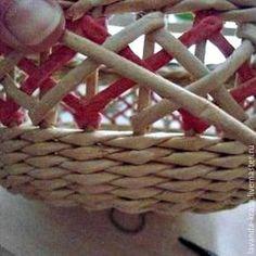 Насмотревшись мастер-классов на Ярмарке Мастеров, решила выложить свой мастер-класс по плетению (вышивке) «ажура» на готовой корзинке. Может для кого то это не ново, но для новичков — кто только осваивает плетеные узоры, будет полезно. Итак, поехали. Сплела дно и немного основу корзины. На стойки вставила коктейльные трубочки нужной мне длины (трубочки покупала в Фикс Прайсе).