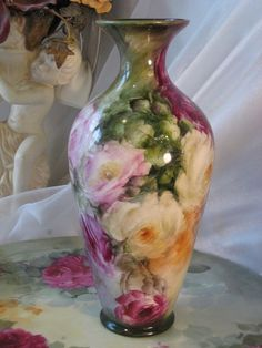 Antique Belleek Hand Painted Vase With Pink And Burgundy Rose Motif    c.1900