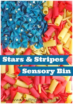 "Fourth of July ""Stars and Stripes"" Sensory Bin – The OT Toolbox Fourth of July ""Stars and Stripes"" Sensory Bin Fourth of July ""Stars and Stripes"" Sensory Bin made from dyed pasta. Fun for toddlers and preschoolers for Independence Day. Preschool At Home, Preschool Lessons, Toddler Preschool, Toddler Crafts, Toddler Activities, Sensory Activities, Daycare Crafts, Preschool Curriculum, Indoor Activities"