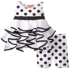 Kate Mack Baby Girls' Opposites Attract Tunic and Legging, Black/White, 18 Months