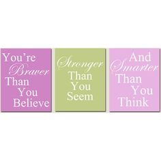 Set of Three 8 x 10 Coordinating Winnie The Pooh Quote Prints - Pink,... ❤ liked on Polyvore