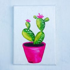 This 5 x 7 original acrylic painting features a vivid green prickly pear cactus in a fuchsia flower pot. On the top of the prickly pear are little pink flowers. The painting has been signed in an inconspicuous area, and the entire canvas has been sealed in a permanent gloss sealer, which prevents dust and dirt from sticking, and UV and moisture damage.  The painting has been completed using high-quality artist-grade acrylics to keep it lightfast and looking beautiful for decades!  This…
