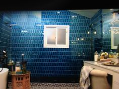Ocean Blue vertical subway tile - installed offset - perfection!