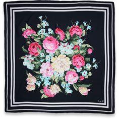AF Silk Scarf in navy floral