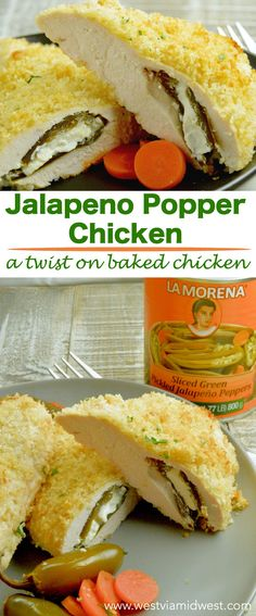 Partnered (#ad) with LA MORENA® Jalapeno Popper Chicken is a twist on crispy baked chicken. Stuffed with cream cheese poppers with slight heat give every day meals a new take! #VivaLaMorena #RediscoverLaMorena  via @westviamidwest