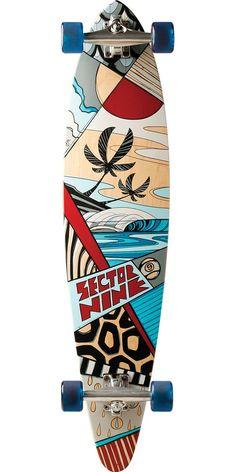 Sector 9 Island Time Longboard Skateboard Complete - Red