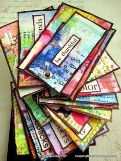 Snapping Monsters spinning stack of gratitude cards- made by Andrea Ockey Parr. Art Journal Prompts, Art Journal Pages, Journal Cards, Journals, Art Journaling, Art Trading Cards, Affirmation Cards, Draw On Photos, Atc Cards