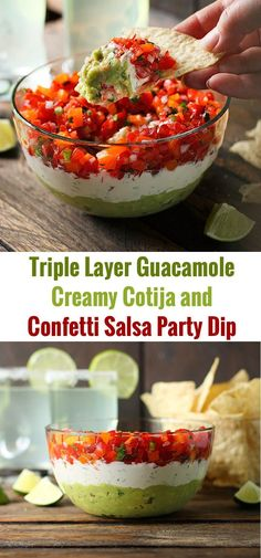 Triple Layer Guacamole Creamy Cotija and Confetti Salsa Party Dip from SoupAddict.com - three awesome flavors that fit on one chip!
