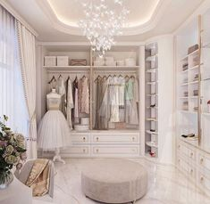 Design by Women's dressing room! There are many variations on this topic - it can be with back panels and hinged drawers, which… Walk In Closet Design, Closet Designs, Dressing Room Closet, Dressing Rooms, Wardrobe Room, Beautiful Closets, Dressing Room Design, Luxury Closet, My Room